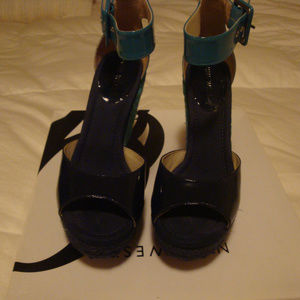 Nine West Miles Turquoise Sandals (Wedge)